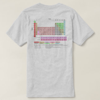 Camiseta A mesa de elementos periódica suporta a cor