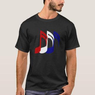 Camiseta A música azul branca vermelha nota o t-shirt