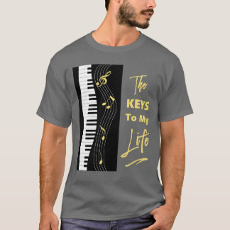Camiseta A música do divertimento dos jogadores de teclado