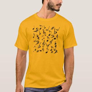 Camiseta A música nota o T - ouro e preto