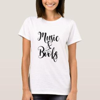 Camiseta a música & os livros citam o presente do roteiro