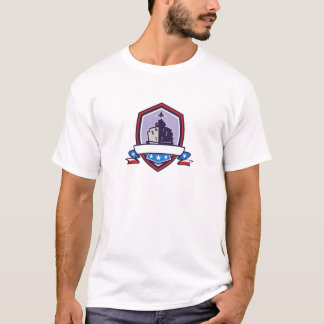 Camiseta A navio de guerra Stars a crista das listras retro