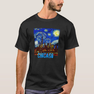 Camiseta A noite estrelado Chicago, edita o texto