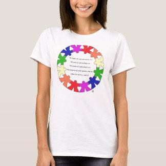 """Camiseta A oração para a proteção nas """"mãos e os corações"""""""