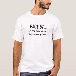 Camiseta A PÁGINA 57…, em minha experiência trabalha todas