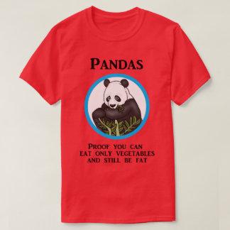 Camiseta A panda gorda engraçada, vegetais não trabalha