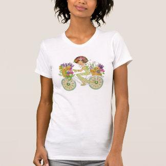 Camiseta A páscoa floresce a bicicleta com filhotes de