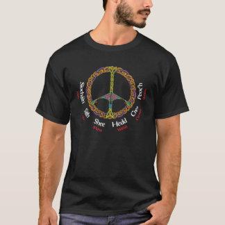 Camiseta A paz celta assina dentro seis línguas