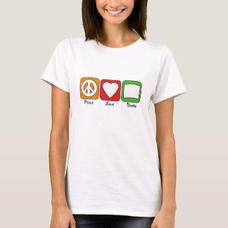 Camiseta A paz retro, amor, registra mulheres (da