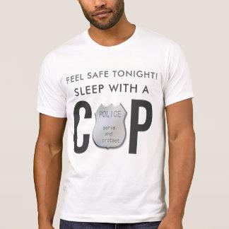 Camiseta a polícia engraçada segura da bobina da sensação