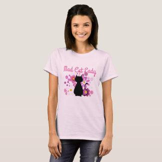 Camiseta A senhora louca Gato do gato no rosa floresce o