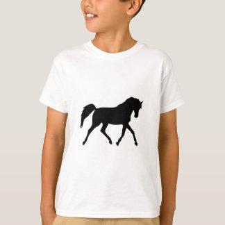 Camiseta A silhueta preta trotar do cavalo caçoa o t-shirt,