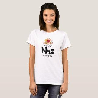 Camiseta A Sra. nova - casamento floral do buquê da