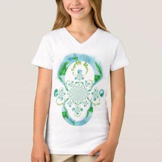 Camiseta A terra importa t-shirt do V-Pescoço do jérsei das