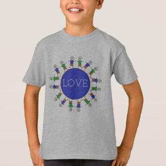 Camiseta A vara bonito figura a mensagem azul do AMOR do