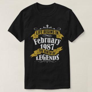 Camiseta A vida começa em fevereiro de 1987 o nascimento