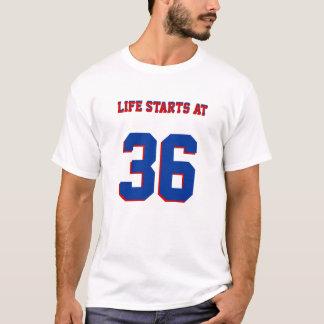Camiseta A vida começa no 36th humor engraçado do