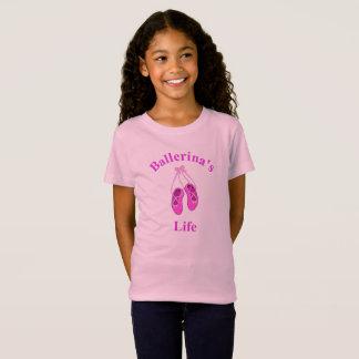 Camiseta A vida da bailarina, Tshirt cor-de-rosa bonito dos