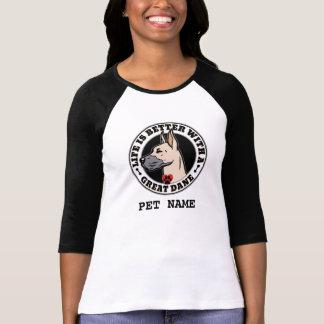 Camiseta A vida é melhor com great dane personalizada