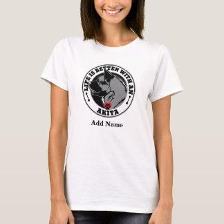 Camiseta A vida é melhor com um Akita personalizado