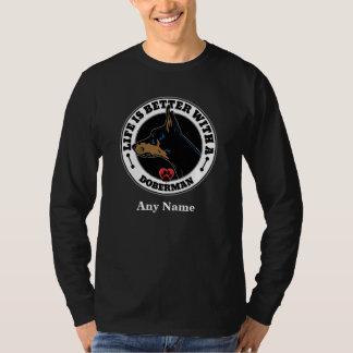 Camiseta A vida é melhor com um Doberman personalizado