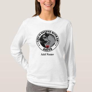Camiseta A vida personalizada é melhor com um cão de Akita