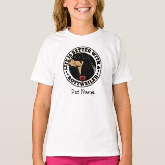 Camiseta A vida personalizada é melhor com um Rottweiler