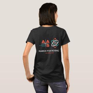Camiseta AAS + Março para a ciência; Reverso, preto