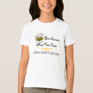 Camiseta Abelha ciente - t-shirt do diabetes juvenil