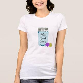 Camiseta Abençoe seu T do frasco de pedreiro do coração