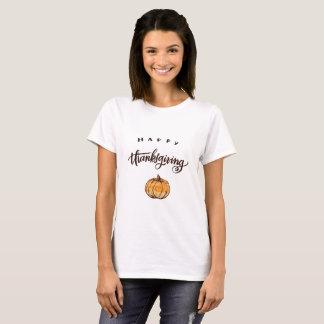 Camiseta Abóbora rústica da acção de graças da caligrafia