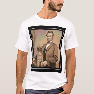 "Camiseta Abraham Lincoln e seu gato ""Dixie """