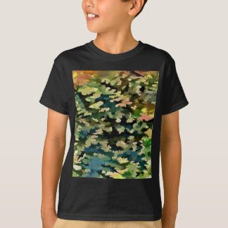 Camiseta Abstrato da folha no verde, no pêssego e no azul