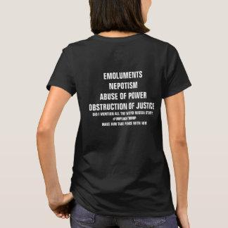 Camiseta Abuso dos lucros da obstrução justiça do poder