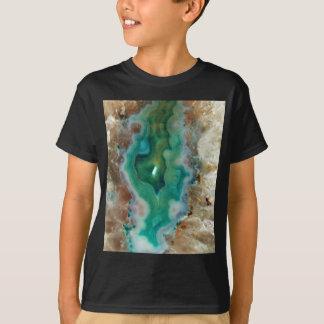 Camiseta Acalmando a pedra mineral de cristal verde e
