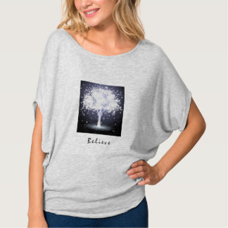 Camiseta ACREDITE que a árvore de incandescência de prata