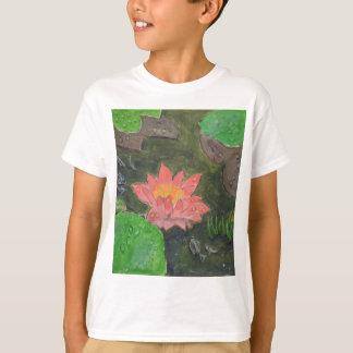 Camiseta Acrílico em canvas, flor cor-de-rosa do lírio de