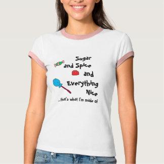 Camiseta açúcar e especiaria e tudo agradáveis