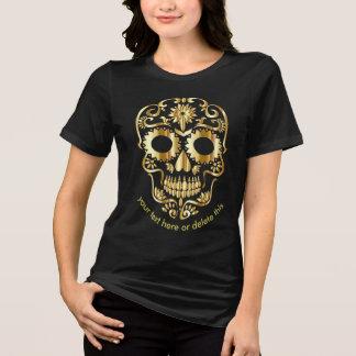 Camiseta adoce o dia gótico do ouro do crânio do
