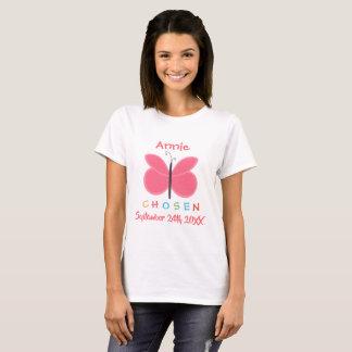 Camiseta Adopção escolhida borboleta adotada - nome feito
