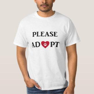 """Camiseta """"Adote por favor"""" o t-shirt animal"""