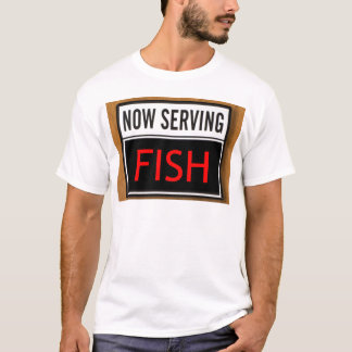Camiseta Agora servindo peixes