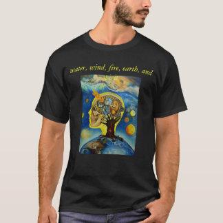 Camiseta água, vento, fogo, terra, e espírito