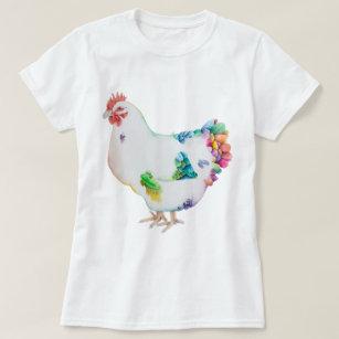 Camiseta Aguarela colorida da galinha por Deja Wolfe