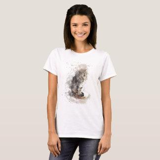 Camiseta Aguarela do gato de gato malhado