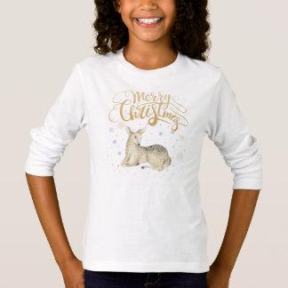 Camiseta Aguarela do Natal | - cervo bonito do inverno