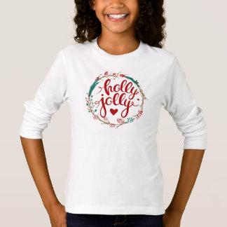 Camiseta Aguarela do Natal | - grinalda alegre do azevinho