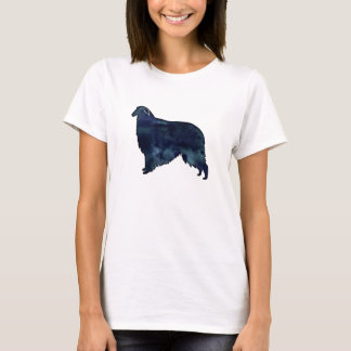 Camiseta Aguarela do preto da silhueta do cão do Borzoi