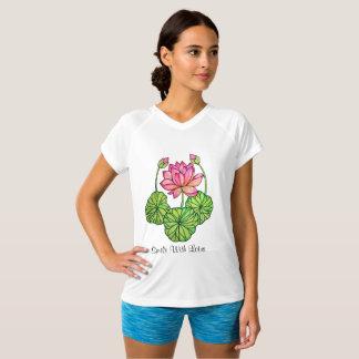 Camiseta Aguarela Lotus cor-de-rosa com botões & folhas