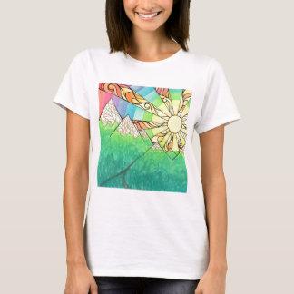Camiseta Aguarela & marcador abstratos do ajuste de Sun do
